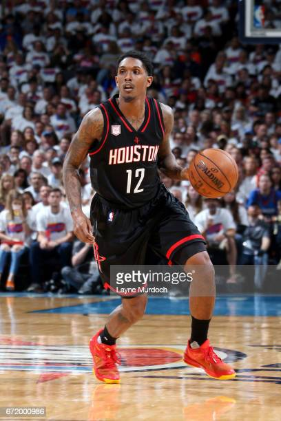 Lou Williams of the Houston Rockets handles the ball during the game against the Oklahoma City Thunder in Game Four during the Western Conference...