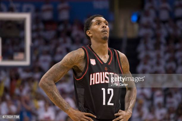 Lou Williams of the Houston Rockets looks on during actin against the Oklahoma City Thunder during the second half of Game Four in the 2017 NBA...