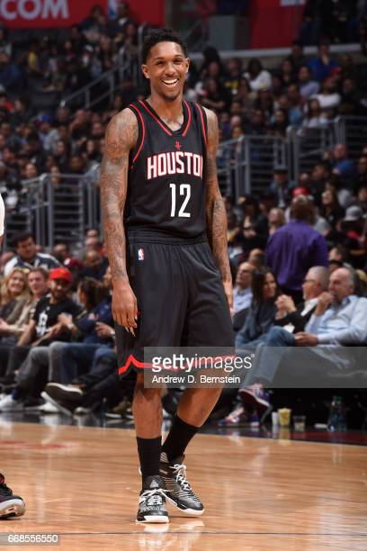 Lou Williams of the Houston Rockets looks on during the game against the Los Angeles Clippers on March 1 2017 at STAPLES Center in Los Angeles...