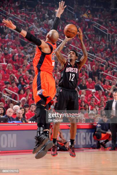 Lou Williams of the Houston Rockets shoots the ball against the Oklahoma City Thunder during the Western Conference Quarterfinals of the 2017 NBA...