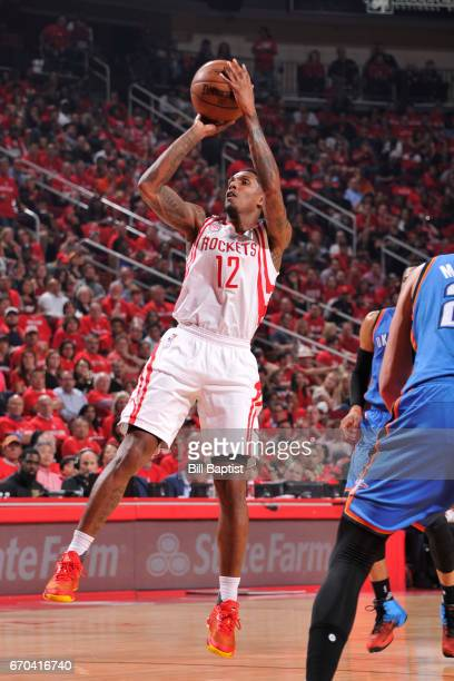 Lou Williams of the Houston Rockets shoots the ball against the Oklahoma City Thunder during Game Two of the Western Conference Quarterfinals of the...