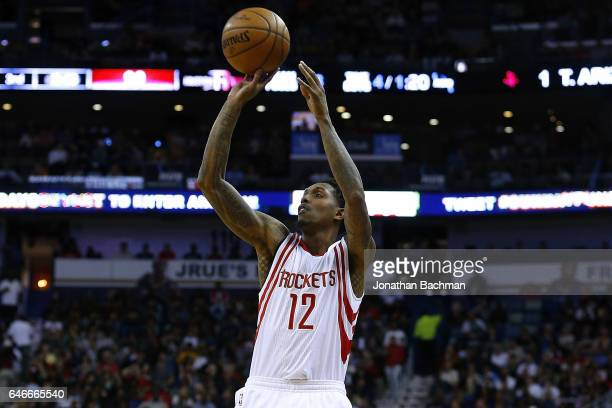 Lou Williams of the Houston Rockets shoots the ball during a game against the New Orleans Pelicans at the Smoothie King Center on February 23 2017 in...