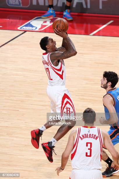 Lou Williams of the Houston Rockets shoots the ball during the game against the Oklahoma City Thunder in Game Five of the Western Conference...