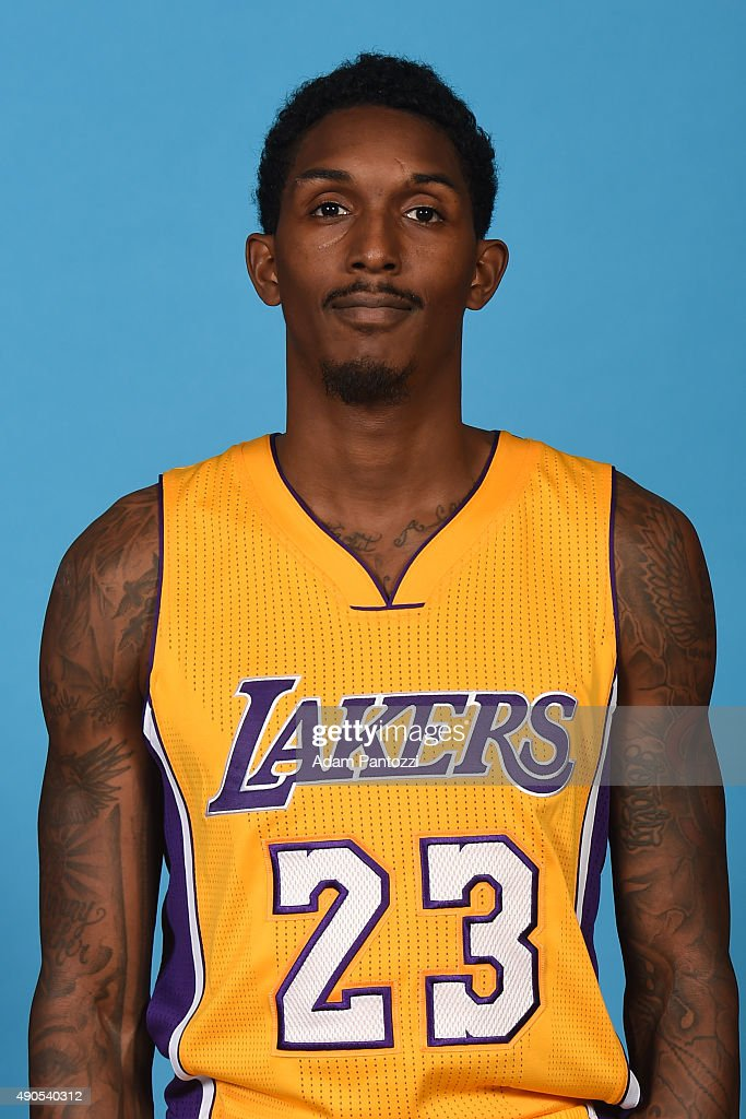 Lou Williams of the Los Angeles Lakers poses for a headshot during media day at Toyota Sports Center on September 28 2015 in El Segundo California...