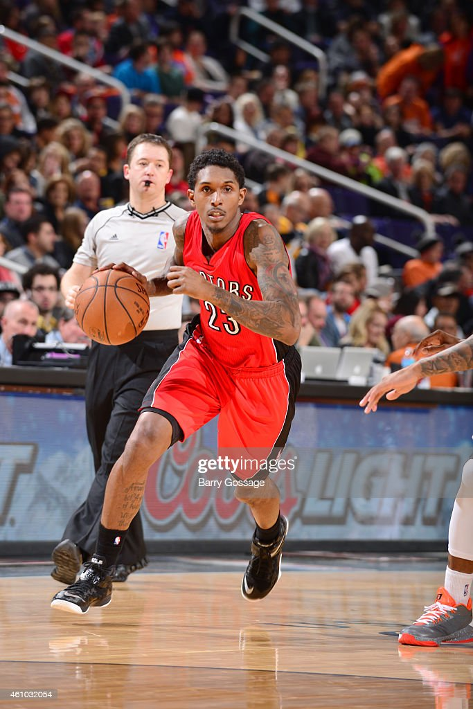 Lou Williams of the Toronto Raptors drives against the Phoenix Suns on January 4 2015 at US Airways Center in Phoenix Arizona NOTE TO USER User...