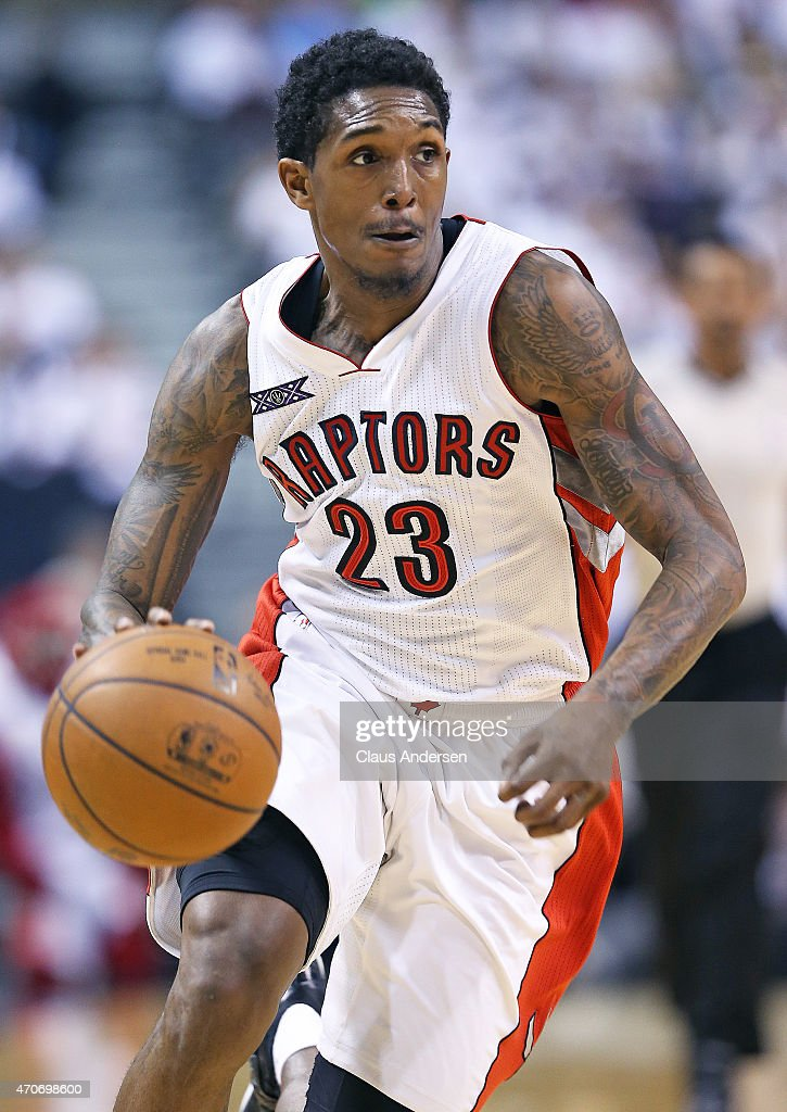 Lou Williams of the Toronto Raptors drives to the basket against the Washington Wizards in Game Two of the NBA Eastern Conference Quarterfinals at...