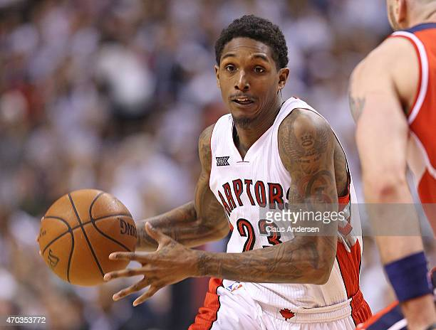 Lou Williams of the Toronto Raptors drives with the ball against the Washington Wizards in Game One of the NBA Eastern Conference Quarterfinals at...