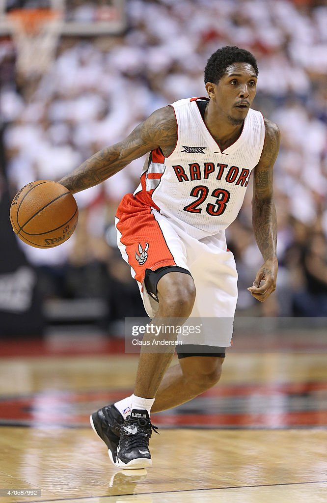 Lou Williams of the Toronto Raptors drives with the ball against the Washington Wizards in Game Two of the Eastern Conference Quarterfinals during...
