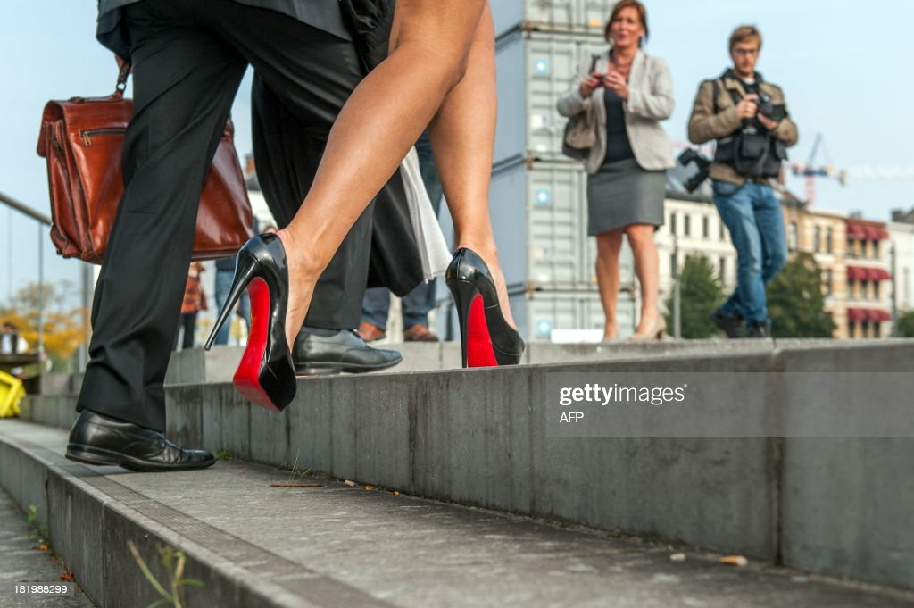 Louboutin shoes of Vlaams Belang senator Anke Van Dermeersch are pictured during the preliminary injunction of French shoe designer Christian...