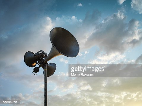 Loud speaker against sky