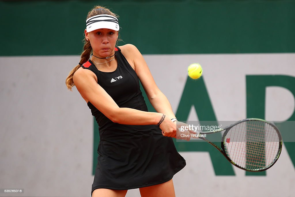Loudmilla Bencheikh of France hits a backhand during the Girls Singles first round match against Kayla Day of the United States on day eight of the 2016 French Open at Roland Garros on May 29, 2016 in Paris, France.