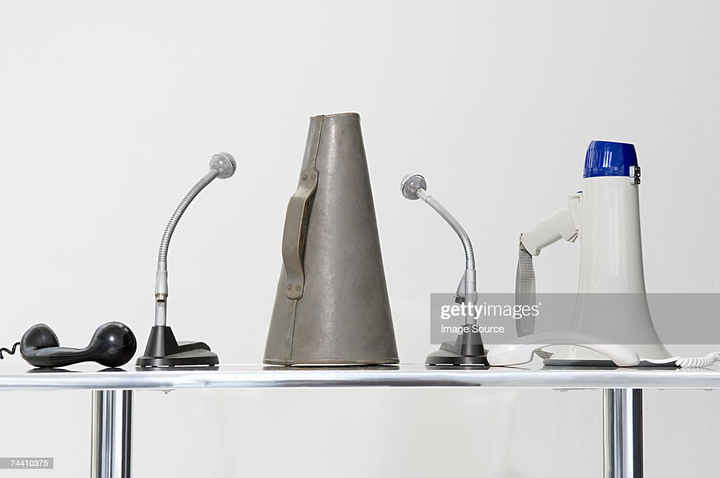 Loudspeaker megaphone microphone and telephone : Stock Photo