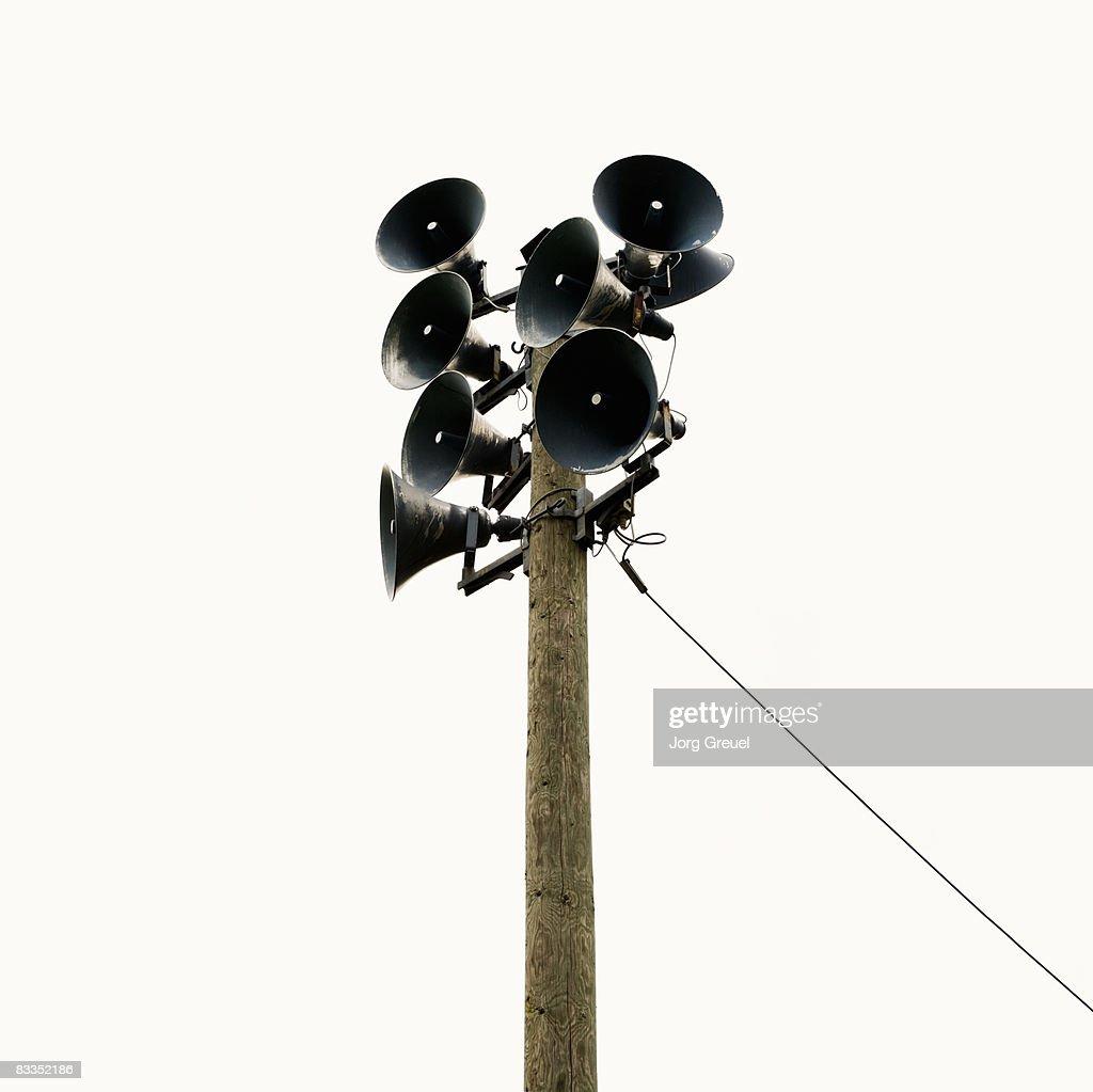 Loudspeakers on a pole