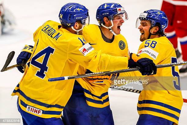 Loui Eriksson of Sweden celebrates his goal with his teammates during the IIHF World Championship quaterfinal match between Sweden and Russia at CEZ...