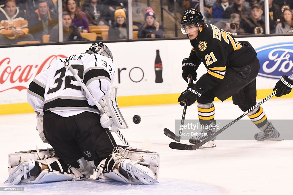 Loui Eriksson of the Boston Bruins shoots the puck against Jonathan Quick of the Los Angeles Kings at the TD Garden on January 31 2015 in Boston...