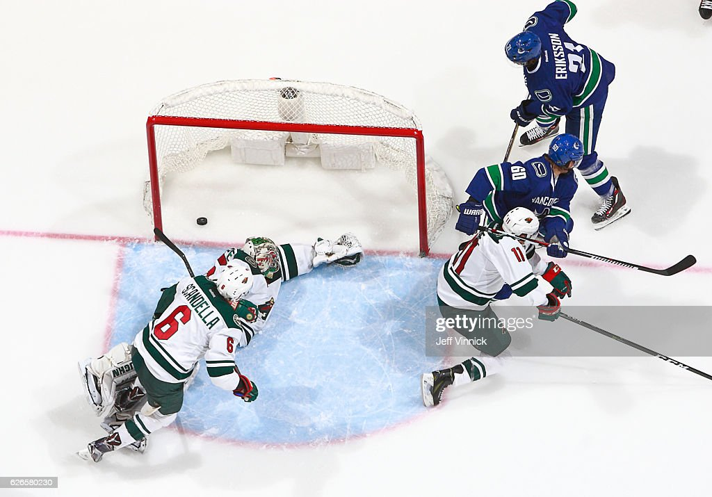 Loui Eriksson #21 of the Vancouver Canucks scores on Darcy Kuemper #35 of the Minnesota Wild during their NHL game at Rogers Arena November 29, 2016 in Vancouver, British Columbia, Canada. Vancouver won 5-4.