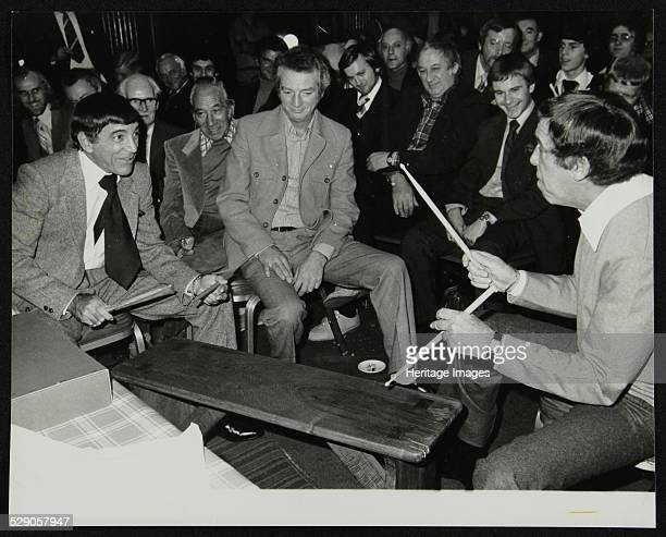 Louie Bellson and Buddy Rich at the International Drummers' Association meeting at the Horseshoe pub Tottenham Court Road London 1 November 1978...