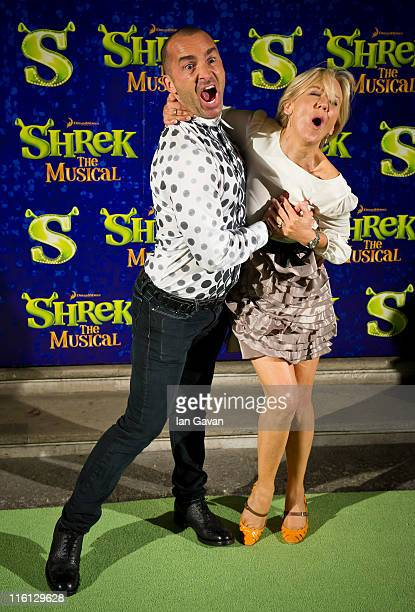 Louie Spence and Lisa Maxwell attend the after party for Shrek The Musical at the Theatre Royal on June 14 2011 in London England