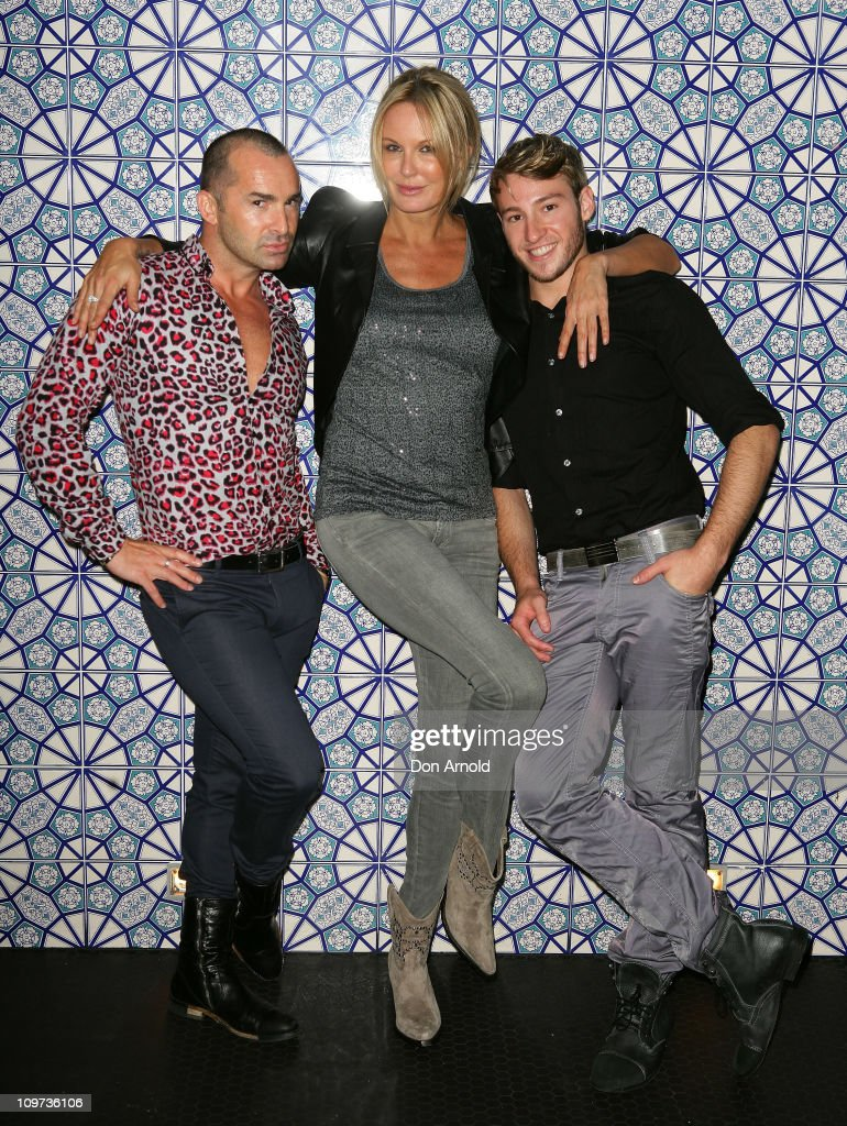 Louie Spence Charlotte Dawson and Matthew Mitcham pose during the Kit Kaboodle Mardi Gras VIP Party on March 3 2011 in Sydney Australia