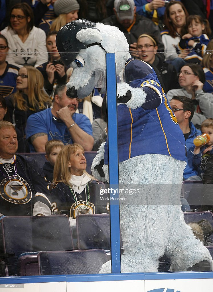 Louie, the St. Louis Blues mascot, entertains the fans during an NHL game between the St. Louis Blues and the Anaheim Ducks on February 9, 2013 at Scottrade Center in St. Louis, Missouri.