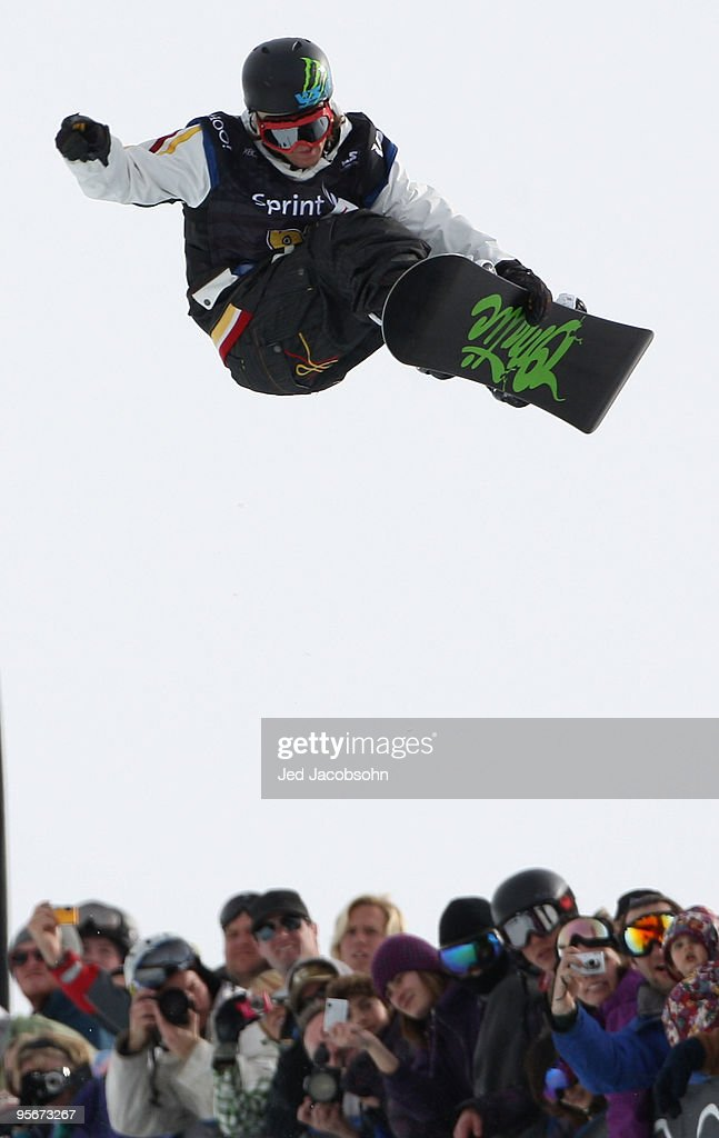 Louie Vito competes during the halfpipe finals of the 2010 US Snowboarding Grand Prix on January 9 2010 at Mammoth Mountain ski resort in Mammoth...