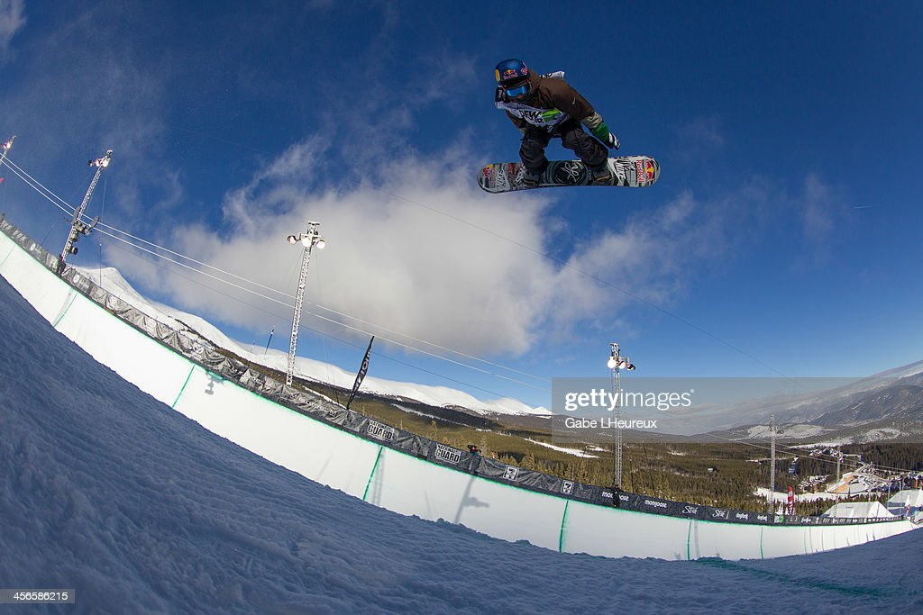 Louie Vito flying through the air in the 2013 Dew Tour half-pipe finals on December 14, 2013 in Breckenridge, Colorado.