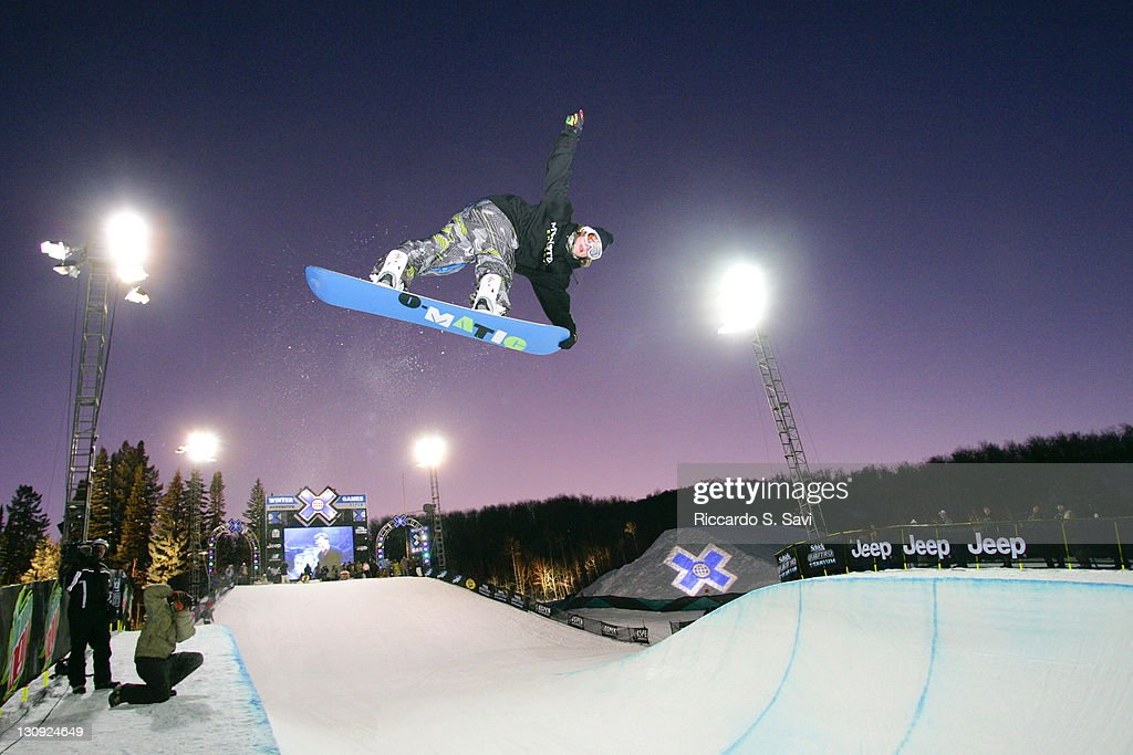 Louie Vito in action during the Snowboard SuperPipe Men's Practice at Winter X Games 11 at Buttermilk Mountain in Aspen Colorado on January 25 2007