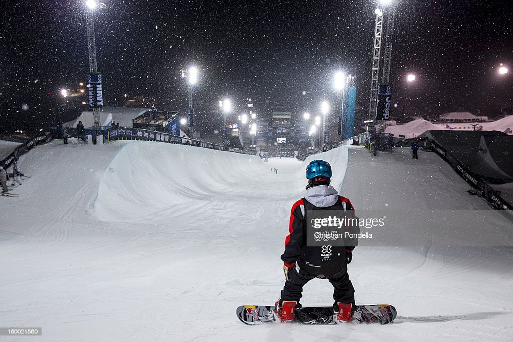 <a gi-track='captionPersonalityLinkClicked' href=/galleries/search?phrase=Louie+Vito&family=editorial&specificpeople=787538 ng-click='$event.stopPropagation()'>Louie Vito</a> of the USA gets ready to drop in during Men's Snowboarding Qualifier at the X Games Aspen 2013 at Buttermilk January 24, 2013 in Aspen, Colorado.