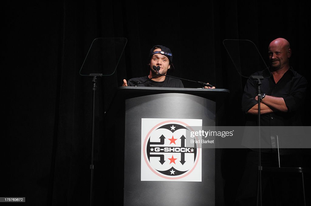 <a gi-track='captionPersonalityLinkClicked' href=/galleries/search?phrase=Louie+Vito&family=editorial&specificpeople=787538 ng-click='$event.stopPropagation()'>Louie Vito</a> speaks onstage at G-Shock Shock The World 2013 at Basketball City on August 7, 2013 in New York City.