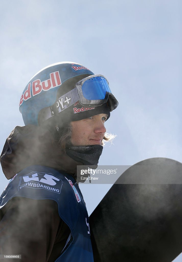 Louie Vito stands at the finish line after competing in the FIS Snowboard World Cup Half Pipe men's finals at the US Grand Prix on January 12, 2013 in Copper Mountain, Colorado.