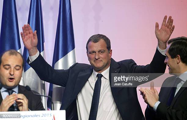 Louis Aliot regional candidate in LanguedocRoussillonMidiPyrenees attends the FN meeting for regional elections at Salle Wagram on December 10 2015...