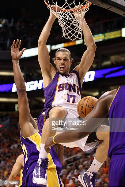 Louis Amundson of the Phoenix Suns dunks the ball against the Los Angeles Lakers in the second quarter of Game Four of the Western Conference Finals...
