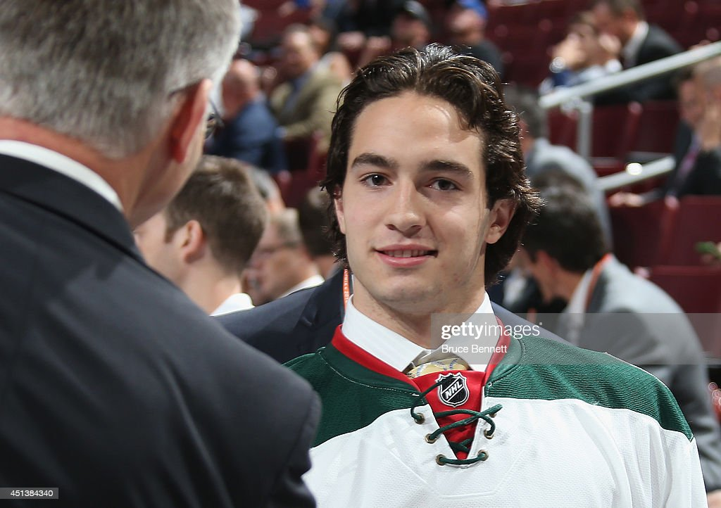 Louis Belpedio, 80th overall pick of the Minnesota Wild, on Day Two of the 2014 NHL Draft at the Wells Fargo Center on June 28, 2014 in Philadelphia, Pennsylvania.