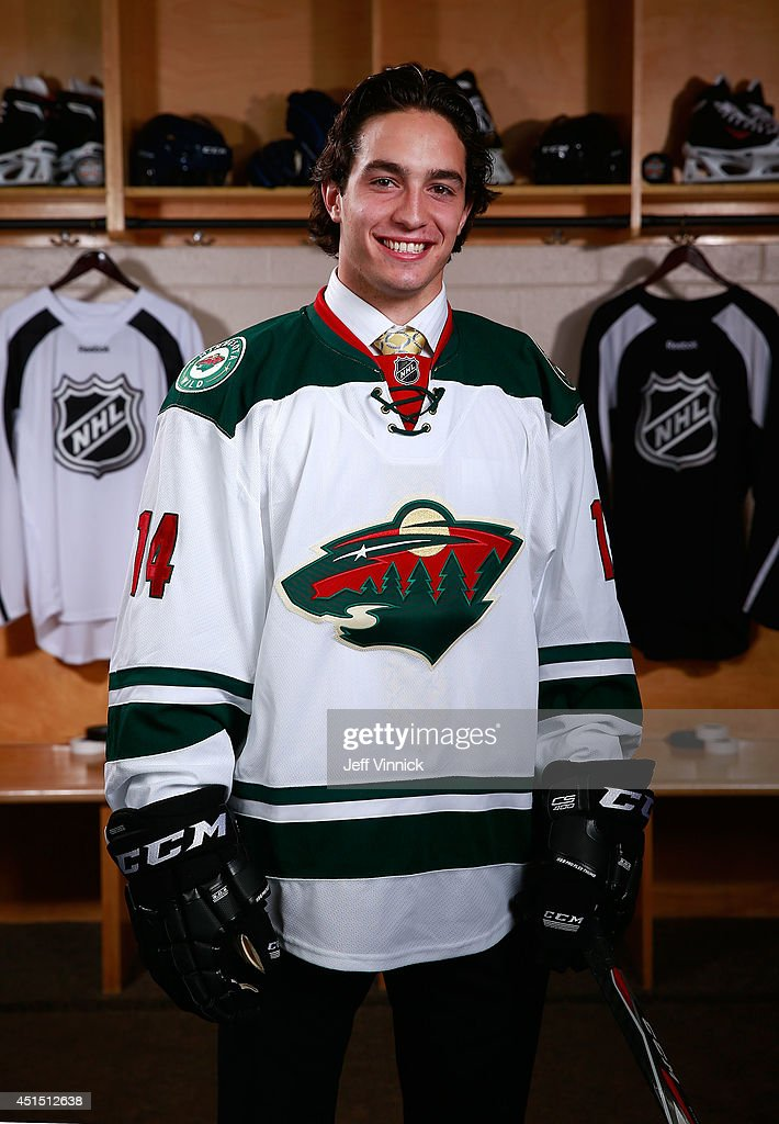 Louis Belpedio 80th overall pick of the Minnesota Wild poses for a portrait during the 2014 NHL Entry Draft at Wells Fargo Center on June 28 2014 in...