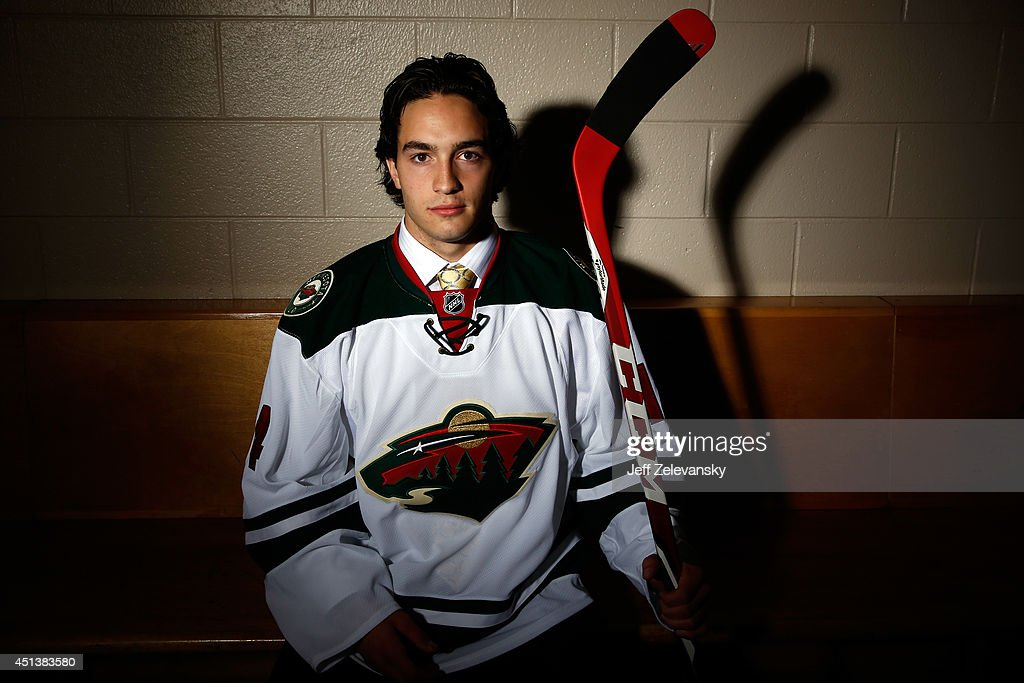 Louis Belpedio of the Minnesota Wild poses for a portrait during the 2014 NHL Draft at the Wells Fargo Center on June 28 2014 in Philadelphia...