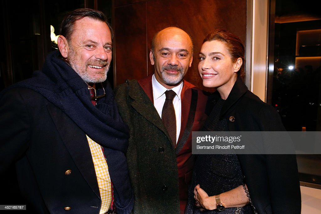 Louis Benech, <a gi-track='captionPersonalityLinkClicked' href=/galleries/search?phrase=Christian+Louboutin+-+Fashion+Designer&family=editorial&specificpeople=4644509 ng-click='$event.stopPropagation()'>Christian Louboutin</a> and journalist Daphne Roulier attend Berluti Flagship Store Opening on November 26, 2013 in Paris, France.