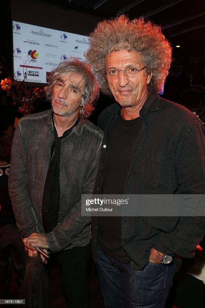 Louis Bertignac and Elie Chouraqui attend the 'Les P'tits Cracks' charity dinner at Pavillon Champs-Elysees on April 25, 2013 in Paris, France.