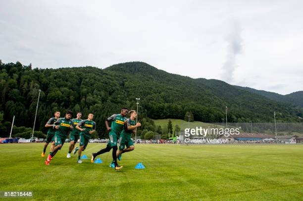 Louis Beyer Julio Villalba Florian Mayer Laszlo Benes Ibrahima Traore and Patrick Herrmann of Borussia Moenchengladbach run during a training session...