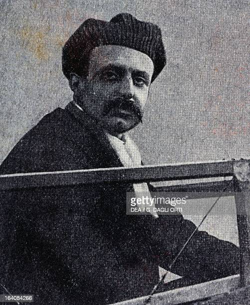 Louis Bleriot French aviation pioneer from the Journal des Voyages 1909