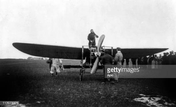 Louis Bleriot french pilot starting motor of his monoplane Bleriot XI july 25 1909