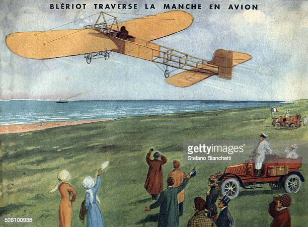 Louis Bleriot taking off at Calais to fly across the English Channel on July 25 1909 Illustration in Belles images d histoire by H Geron et A...