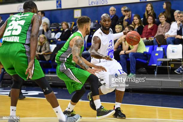 Louis Campbell of Levallois during the EuropCup match between Levallois Metropolitans and Darussafaka Istanbul at Salle Marcel Cerdan on October 11...