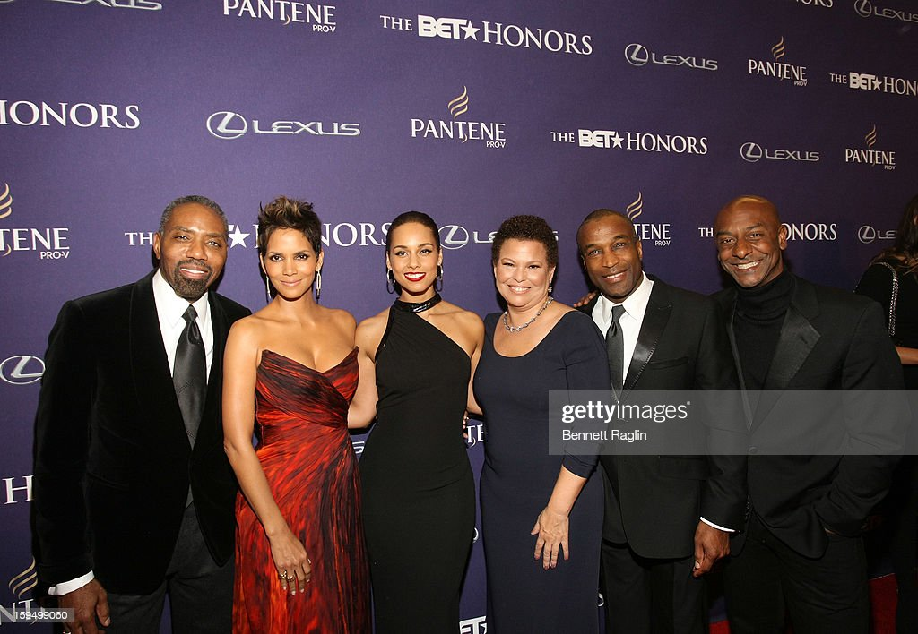 Louis Carr, Halle Berry, Alicia Keys, Debra Lee, Ray Goulbourne and Stephen G. Hil attend BET Honors 2013: Red Carpet Presented By Pantene at Warner Theatre on January 12, 2013 in Washington, DC.