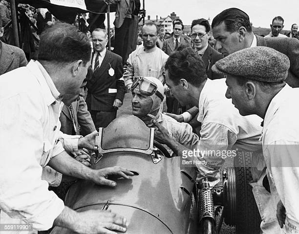 Louis Chiron of France sits aboard the Maserati 4CL during the first JCC Jersey Road Race on 8 May 1947 at the StHelier course in Jersey Channel...