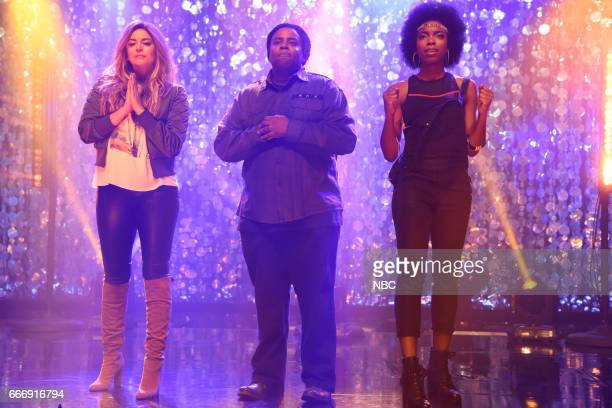 LIVE 'Louis CK' Episode 1721 Pictured Cecily Strong Kenan Thompson and Sasheer Zamata during the 'Tribute Song' sketch on April 8 2017