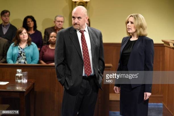 LIVE 'Louis CK' Episode 1721 Pictured Host Louis CK as the Lawyer and Vanessa Bayer as a lawyer during 'The Lawyer' sketch on April 8 2017