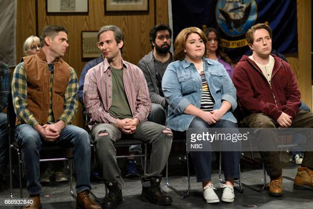 LIVE 'Louis CK' Episode 1721 Pictured Mikey Day Kyle Mooney Aidy Bryant and Beck Bennett as Trump voters during the 'Trump People's Cold Open' on...