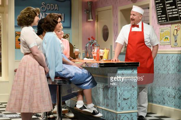 LIVE 'Louis CK' Episode 1721 Pictured Vanessa Bayer Cecily Strong Aidy Bryant and host Louis CK as Sam during the 'Soda Shop' sketch on April 8 2017
