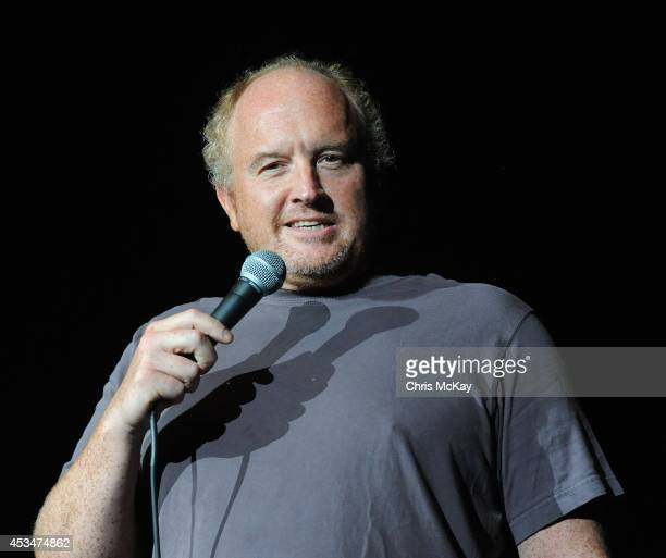 Louis CK performs during the Funny Or Die Oddball Comedy Curiosity Festival at Aaron's Amphitheatre on August 10 2014 in Atlanta Georgia