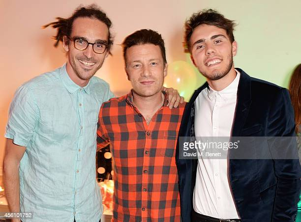 Louis Cole Jamie Oliver and Alfie Deyes attend YouTube phenomenon Zoe Sugg's launch of her debut beauty collection at 41 Portland Place on September...